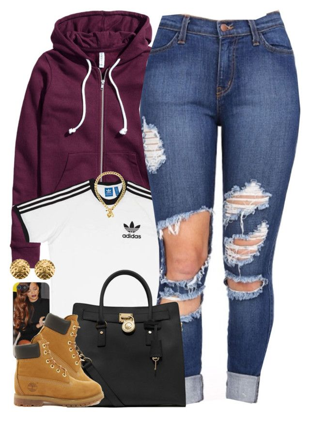 """Untitled #1470"" by power-beauty ❤ liked on Polyvore featuring H&M, adidas, MICHAEL Michael Kors, Timberland, Chanel and Juicy Couture"