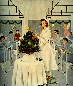 Nurse getting the little Christmas tree in the hospital ready...reminiscent of the 1940s