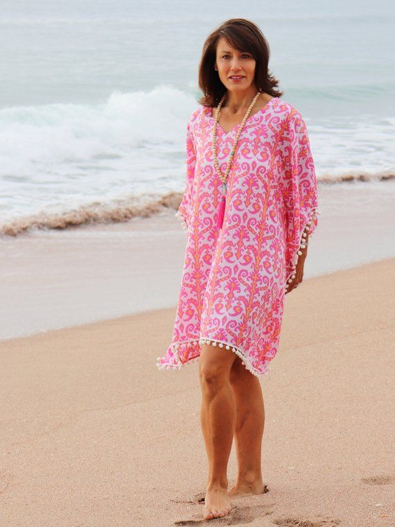 3a0465fd16 Pink beach kaftan short ikat print caftan dress with pom | Etsy ...