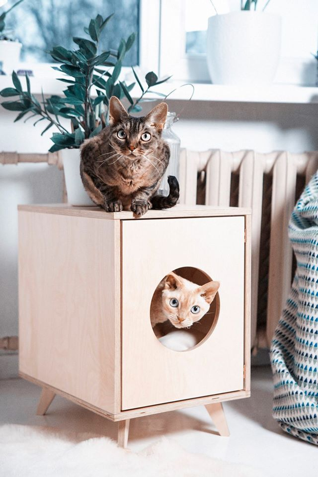 The minimalistic pet house/ cat litter box cover Juno is created to blend into a modern home. Usually litter boxes are made of plastic and cat owners don't know where to hide them. This piece of furniture is made from humidity-proof birch plywood and finished with high-quality lacquer, so you can use it in every room, even in your bathroom and it can also be a side table. Author: Anatoli Tafitšuk, Liis Lindmaa