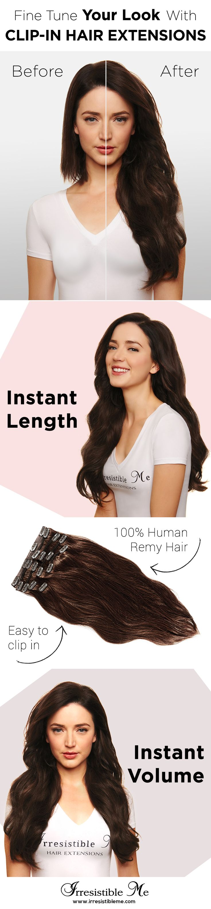 Add length and volume in just minutes with Irresistible Me 100% human Remy clip-in hair extensions and try any hairstyle you want without any damage to your own hair. They can be dyed, cut and heat styled. You can choose the color, length and weight. Big Spring Sale on site between March 18 - March 31 2016.