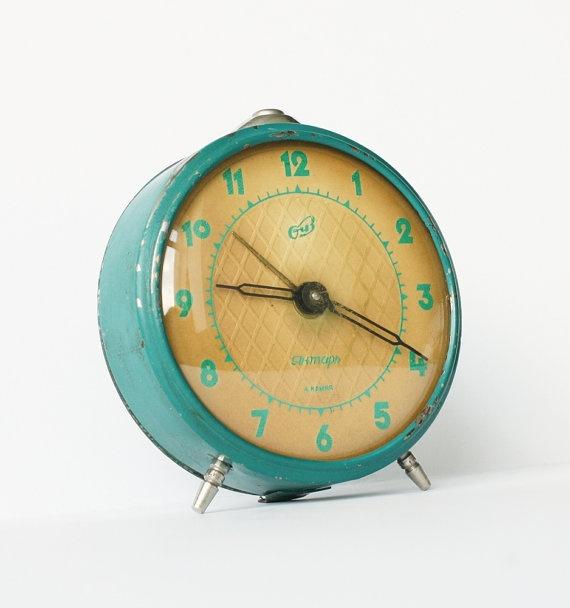 Vintage Russian Mechanical Alarm Clock Jantar Bedside