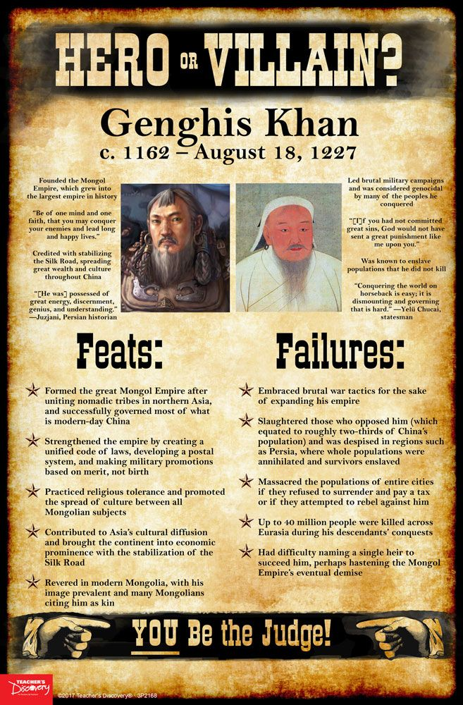 History tends to judge historical figures in extremes: Shi Huangdi was a barbarian! Martin Luther was a religious hero! As teachers, it's tempting at times to present the world as black and white to our students: good or evil, friend or foe, hero or villain. Use this Genghis Khan mini-poster to encourage students to take off the rose-colored glasses and see beyond the established historical narratives, into the real world of gray.   ©2017. Middle school, high school. 11 x 17 inches.