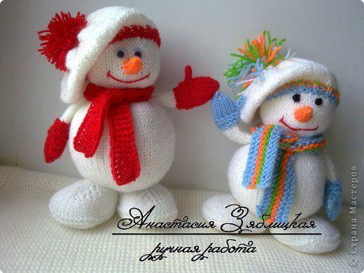 Игрушка Мастер-класс Новый год Вязание Вязание спицами МК снеговик Нитки Пряжа фото 1