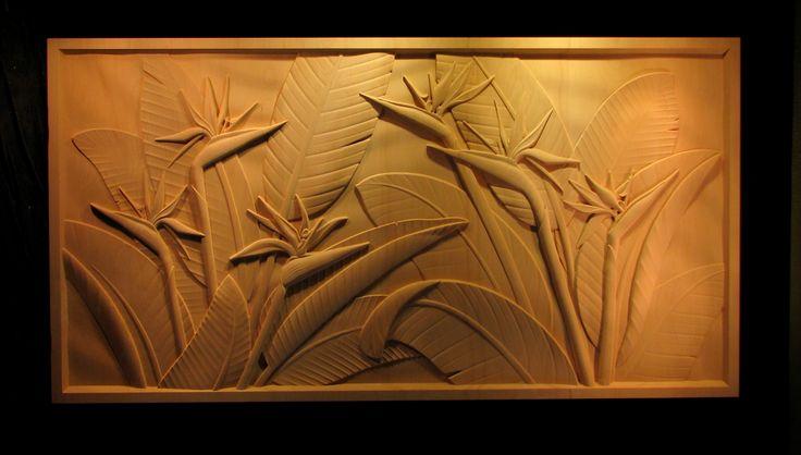 Custom Bird Of Paradise Panel Carved Wood Panel