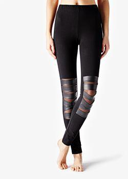 Pamut leggings bőr sávokkal