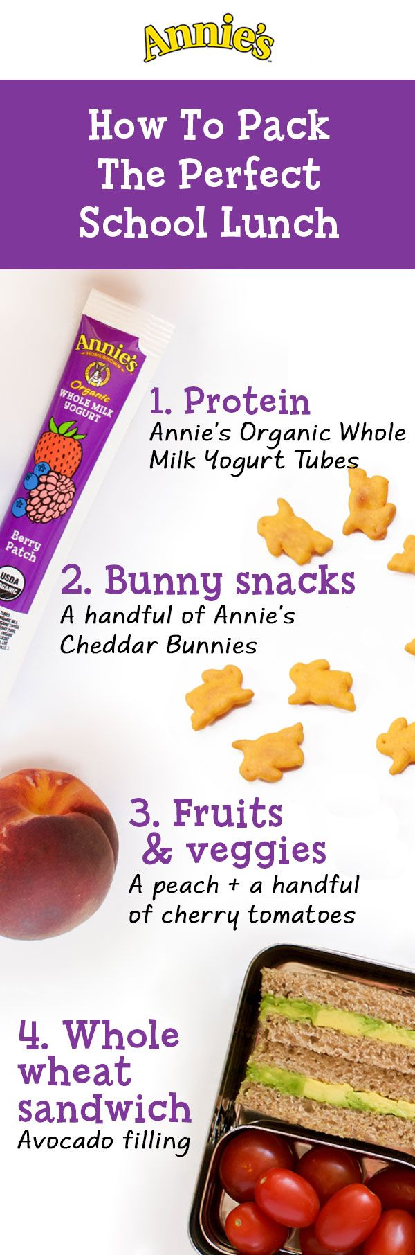 Back to school time is the perfect opportunity to start packing a cleaner lunchbox for your little ones. Luckily, Annie's has heaps of delicious, wholesome products that you can feel good about packing. Start with protein like Annie's Organic Whole Milk Yogurt Tubes as the foundation for a yummy lunch, then toss in some fresh fruit, veggies and Annie's Cheddar Bunnies for good measure.