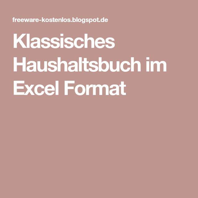 Klassisches Haushaltsbuch im Excel Format