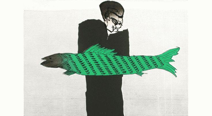 Znowu ryba linoryt 70x100cm 2010r, cena 800 zł