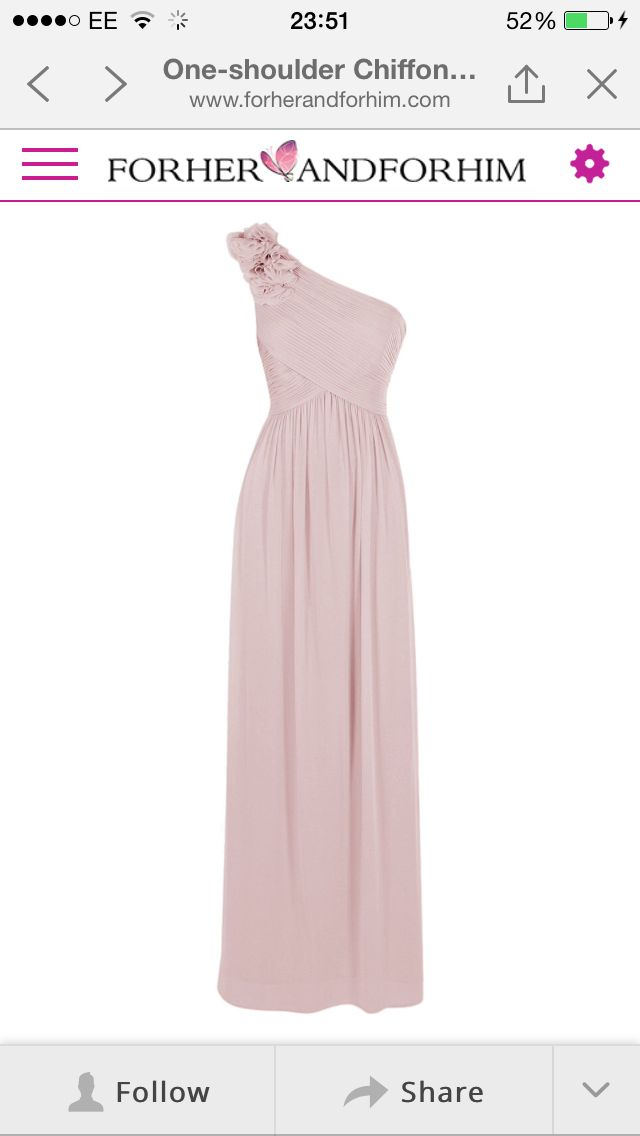 One shouldered dusky pink bridesmaid dress