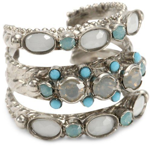 """Sorrelli """"Aegean Sea"""" Pacific Opal, Light Gray Opal, Turquoise, Adjustable Ring Sorrelli. $50.00. Items that are handmade may vary in size, shape and color. Made in China. Antique silver finish. Handmade rings may range a 1/2 size up or down"""