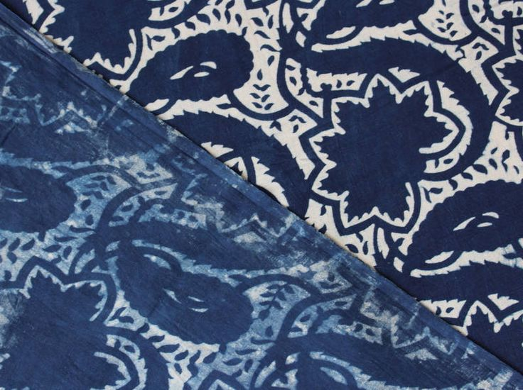Sold By Yard Indigo Fabric From India, Batik Fabric,Cotton Fabric, Block Printed Fabric, Indigo Blue Vegetable Dye Cotton Fabric HPS#306 by handprintedshop on Etsy