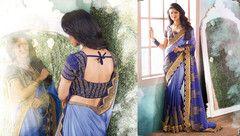 PartyWear Embroidered Chiffon Art Silk Saree 7151