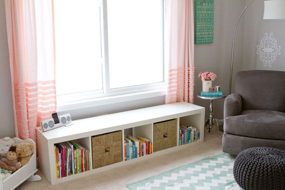 love this shelf, curtains, chair, and rug Spearmint Baby