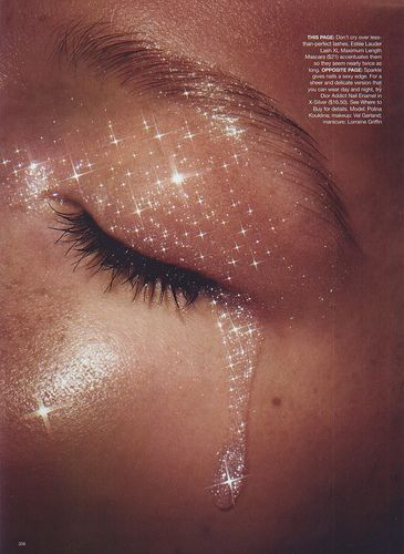 Crying glitter tears, duh.