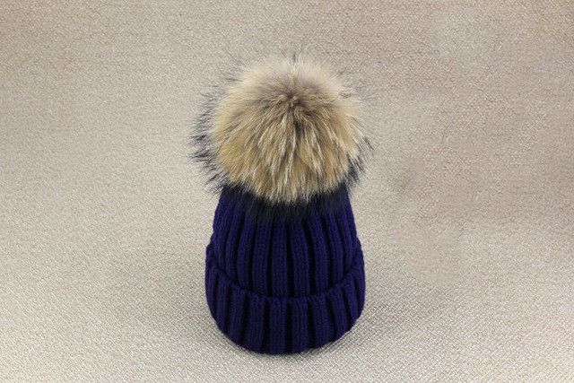 Winter Hat for Women Plus Size Genuine Mink Fur Pompom Hats For Women Winter Cable Knitted Cap Female Raccoon Skullies & Beanies