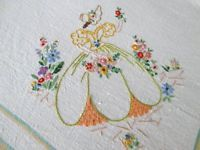"VINTAGE FARMHOUSE TABLECLOTH-LINEN-CRINOLINE LADIES-48"" Sq"