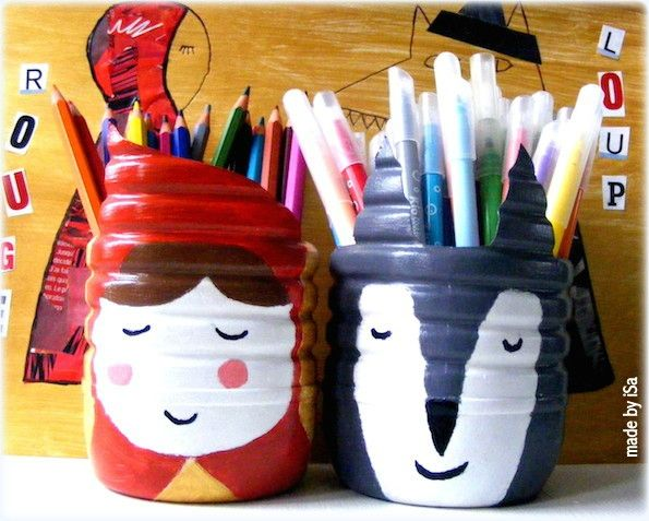 pots crayons bouteilles de lait petit chaperon rouge made by isa made by isa diy. Black Bedroom Furniture Sets. Home Design Ideas