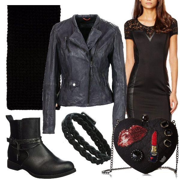 Delizioso outfit per chi ama il genere rock. Abito a maniche corte nero, stivaletto con tacco comodo e biker in pelle nero. Come accessori ho scelto una calda sciarpa nera, una deliziosa borsa a tracolla a forma di cuore con applicazioni in nero e in rosso e un bracciale in pelle ed ottone.