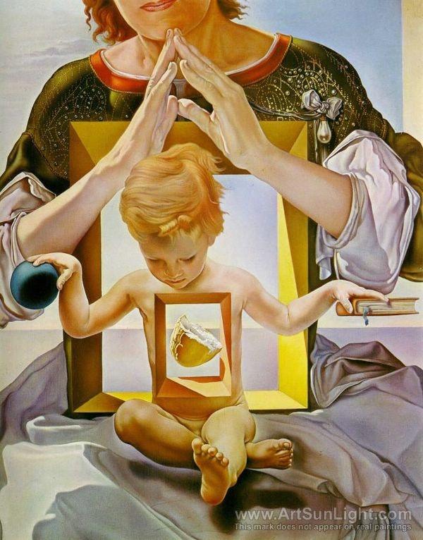 Salvador Dali's oil painting The Madonna of Port Lligat detail, 1950