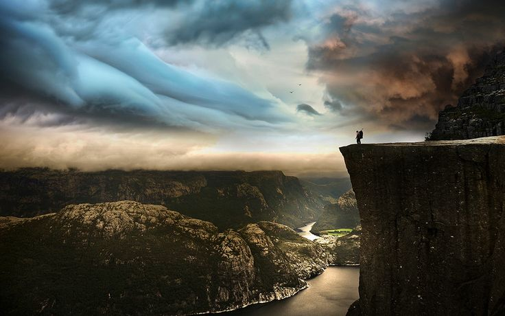 """""""Preikestolen, Norway"""" -- #wallpaper by """"Robin Kamp"""" from http://interfacelift.com -- Taken on a trip to Norway in 2009.  If you want to see how it feels like standing at the edge of the 604 meter drop, have a look at a video we made from the hike. http://www.youtube.com/watch?v=ufrqtU90aP8 -- Available as #wallpapers in any resolution at: http://interfacelift.com/wallpaper/details/3431/preikestolen%2C_norway.html"""