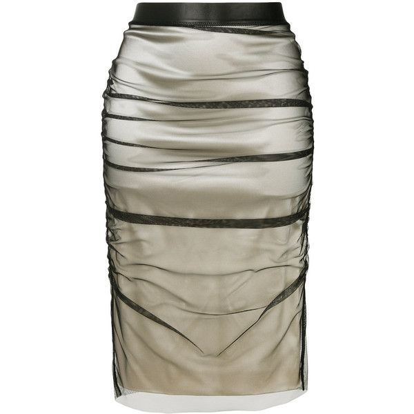 Tom Ford layered pencil skirt (€2.180) ❤ liked on Polyvore featuring skirts, brown pencil skirt, zipper back pencil skirt, pencil skirts, high-waist skirt and mid length skirts