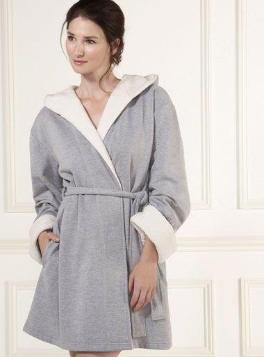 Marianne Hooded Robe - Grey Mix | Boux Avenue