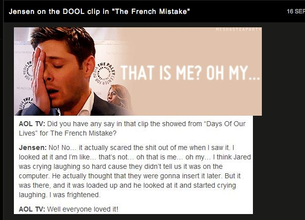 Jensen Ackles on the Supernatural French Mistake episode with the clip of him in Days of Our Lives