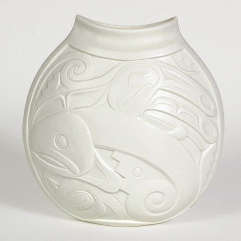 """Porcelain Vase, 'Salmon Child'. Design by Terry Jackson, 10"""" x 9 1/2"""" x 4"""", design is different on both sides, $160.00 CAD. Available at Northwestcoastgifts.com."""