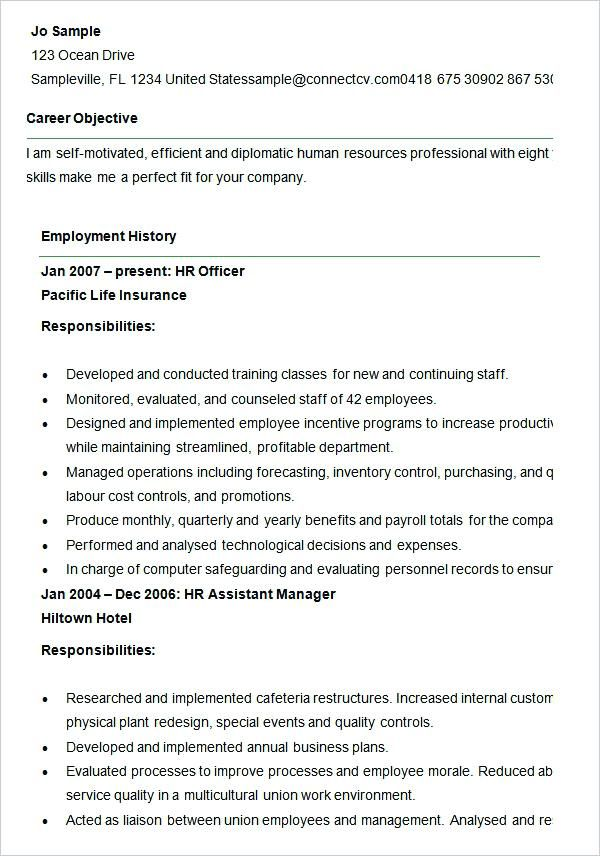 Free Resume Templates Human Resources Hr Resume Human Resources Resume Cover Letter For Resume