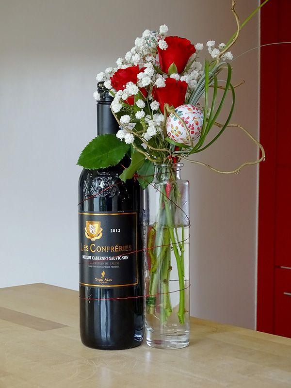 Rode wijn, romantisch met een fleugje pasen erbij