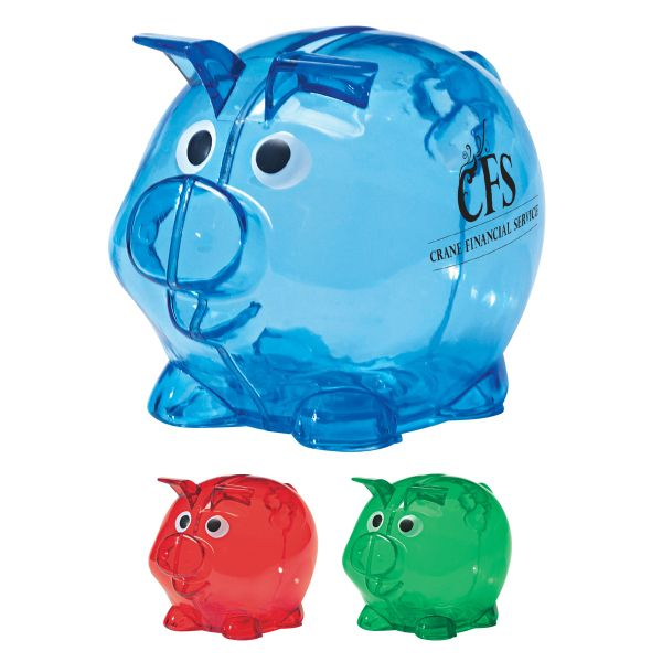 Mini Plastic Piggy Bank - Plastic bank with removable plug for coin retrieval.
