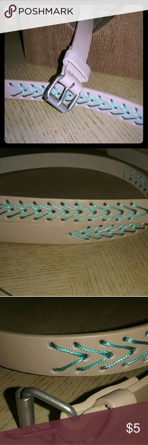 Chevron belt Tan belt with blueish green chevron pattern. Size 3. 2cm in width. I have never worn this belt. SUPER CUTE! Accessories Belts