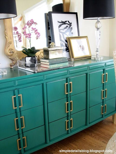 Made glam! Behr Precious Emerald on the dresser, with IKEA Metrik pulls sprayed with Rustoleum's metallic spray paint in Brass