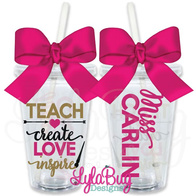 Teach Create Love Inspire Art Teacher PERSONALIZED ACRYLIC TUMBLER - TEACHER GIFT - TEACHER'S AIDE GIFT - TEACHER APPRECIATION