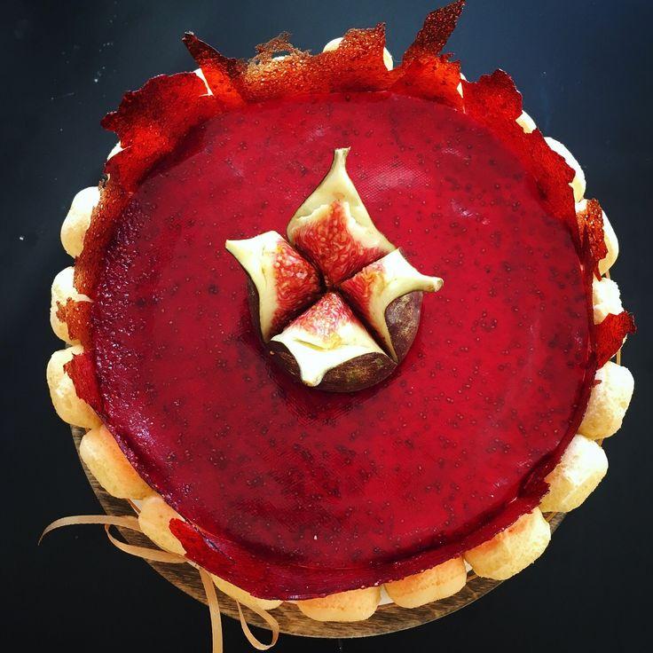 Strawberry tiramisu with strawberry leather on top