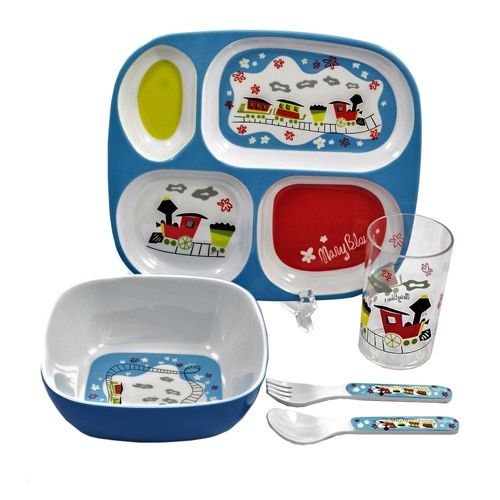 Gaia Group World of Mary Blair color 5-piece Children's Train Dinnerware Gift Set