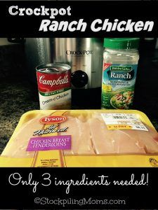 Crockpot Ranch Chicken is amazing and you only need 3 ingredients! Hidden valley ranch dip