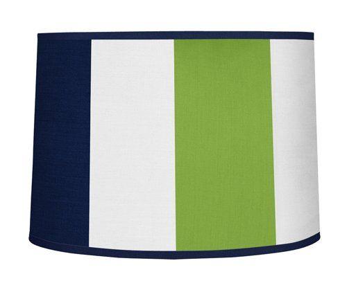 Modern Navy Blue and Lime Green Stripe Lamp Shade by Sweet Jojo Designs Sweet Jojo Designs