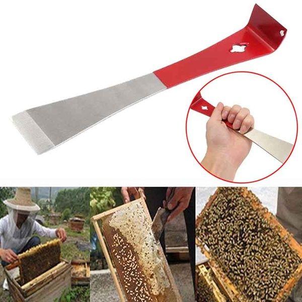 Stainless Steel J Shape Beekeeping Tool Red Curved Tail Bee Hive Hook Scraper