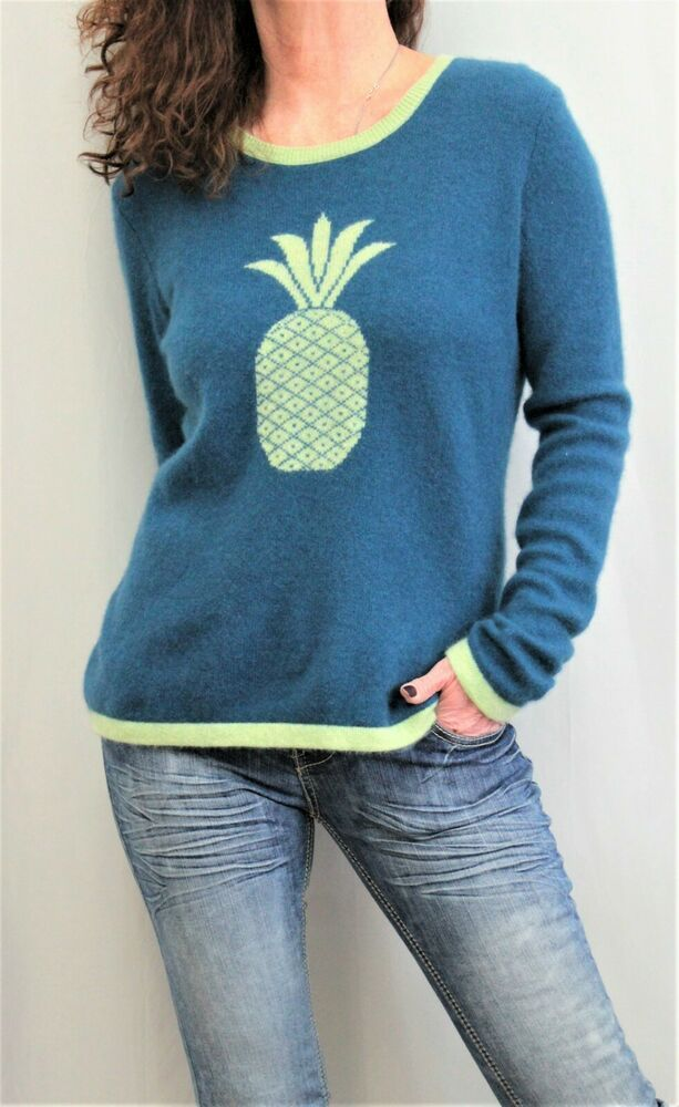 Hannah Rose 100% Cashmere L Sleeve Scoop Neck Pineapple
