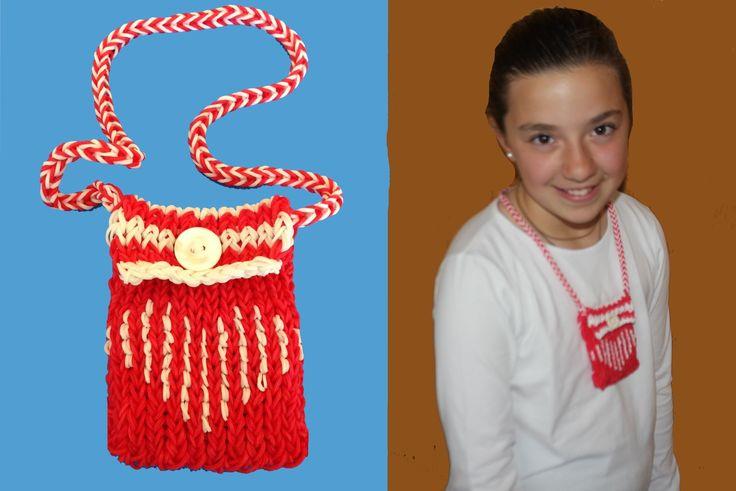 mini bolso con gomitas o ligas. Mini purse Rainbow Loom
