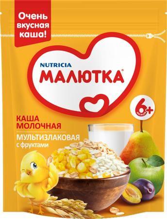 Малютка (Nutricia) Молочная мультизлаковая с фруктами (с 6 месяцев) 220 г  — 119р.  Каша молочная Малютка мультизлаковая с фруктами с 6 мес. 220 г. Молочная мультизлаковая каша с фруктами вкусная и сытная за счет добавления молока. Входящие в состав каши питательные злаки овес, рис, кукуруза отлично дополняют друг друга. Овсянка богата содержанием ценных растительных белков. В рисе мало сахаров, пищевых волокон и жиров, но при этом максимальная энергетическая ценность. Кукуруза уникальна…