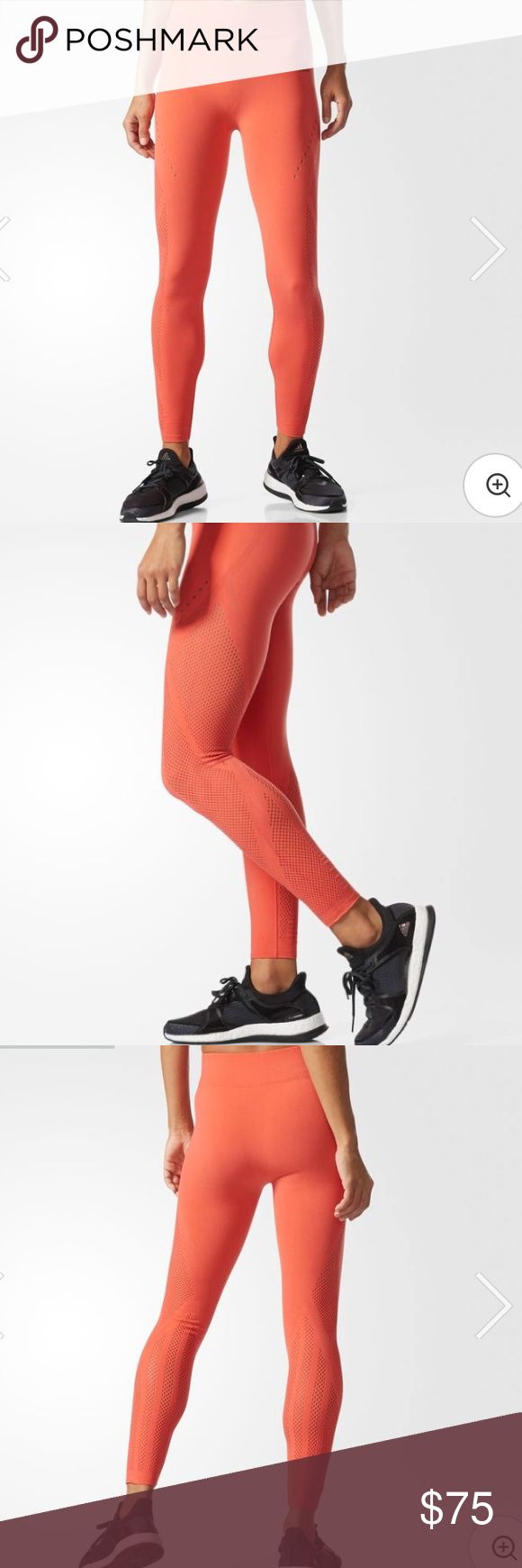 "Adidas Tight Leggings New with tag.  Tights as flexible as your practice. These women's leggings are made of stretchy fabric cut for a slightly shorter length. They have a smooth, seamless construction that reduces chafing, and climacool® for airy-cool comfort on the mat.  Ventilated climacool® keeps you cool and dry Ribbed waist Seamless warp knit construction Medium upper leg compression for shaping  23.5"" inseam (size Med) Fitted fit; Seven-eighth length 76% nylon / 24% elastane seamless…"