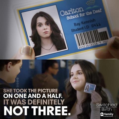 "Switched at Birth..... ""I look like a serial killer...."" (-Bay Kennish) :) aaaahhh love that scene!!"
