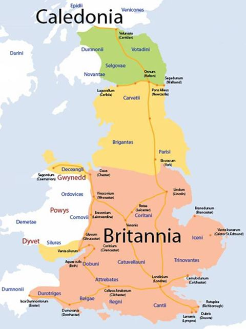 Map of Ancient Britain, showing the Celtic tribes, and Roman roads