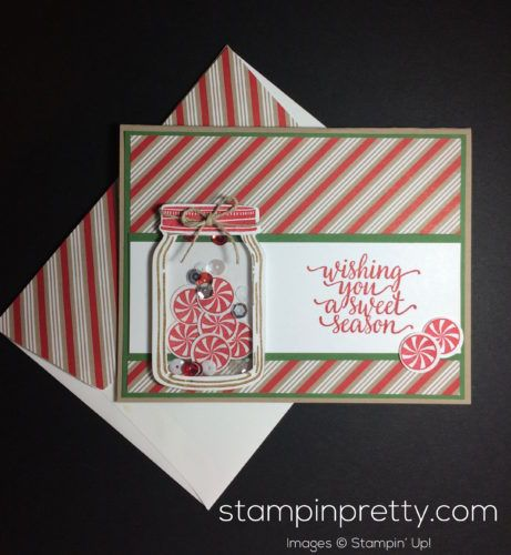 Candy Cane Christmas, Jar of Love & Everyday Jars Dies holiday card.  Mary Fish, Stampin' Up! Demonstrator.  1000+ StampinUp & SUO card ideas.  Read more http://stampinpretty.com/2016/10/wishing-you-a-candy-cane-christmas.html