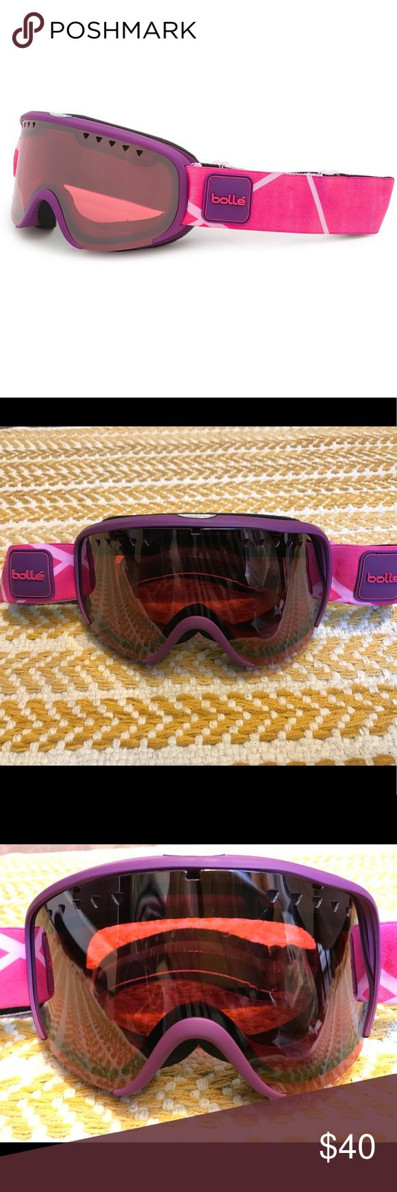 ❄️ NWOT BOLLE Scarlett Ski Goggle Pink Purple NWOT!!  P80+ layer for anti-fog properties Cargo-Glas outer lenses feature protective armor for scratch resistance Flow-Tech venting promotes directional airflow to prevent moisture buildup Triple or double density foam Double lens eliminates condensation Silicone strap supports goggles on your helmet 2 very light scratches on lense, not noticeable. bolle Accessories Glasses