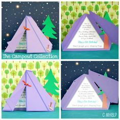 Cute tent invite idea-- maybe for a camping themed birthday party?