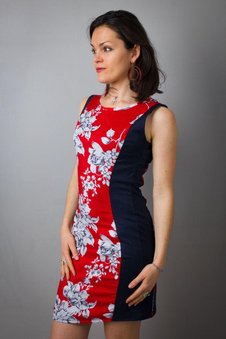 Robe femme rouge imprimé fleurs et jan denim bleu stretch, courte et moulante, printemps, bohème, sexy : Robe par all-by-k